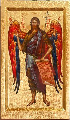 John the Baptist Byzantine Icons, Byzantine Art, Religious Icons, Religious Art, Rosary Mysteries, John The Baptist, Orthodox Icons, Sacred Art, Christian Art