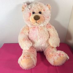 "Rare Build-a-Bear Plush 16"" Light Strawberry/Orange Bear Tye-Dye Stuffed Animal #BuildaBear #AllOccasion"