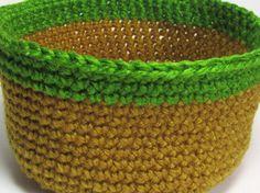 Yarn Basket Tan Jute Peapod Green Organizer Bowl by Lilena on Etsy, $11.50