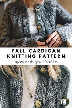 Knit Cardigan Pattern, Sweater Knitting Patterns, Knit Patterns, Free Knitting, Vogue Knitting, Knitting Ideas, Sweaters Knitted, Quick Knitting Projects, Sock Knitting
