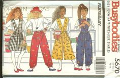 Butterick Busybodies 5670 Girls Split Skirt Pants by ReduxPatterns (Craft Supplies & Tools, Patterns & Tutorials, Sewing & Needlecraft, Sewing, girl, split skirt, shorts, culottes, pants, bib, top, butterick, busybodies, sewing patter)