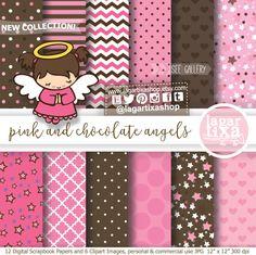 https://www.etsy.com/mx/listing/489250749/papel-digital-e-imagenes-clip-art #fondos #angelitabautizo #rosas #pinkandbrown #babygirl #babyshower #baptism #Eventos #diy