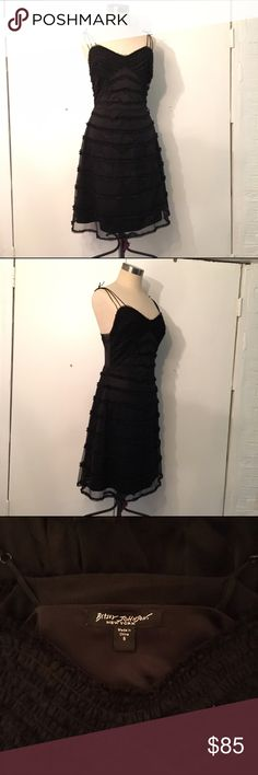 Classic Betsey Johnson sweetheart ruffled dress Classic Betsey Johnson sweetheart ruffled dress / in black double layered mesh / size 8 Betsey Johnson Dresses Midi