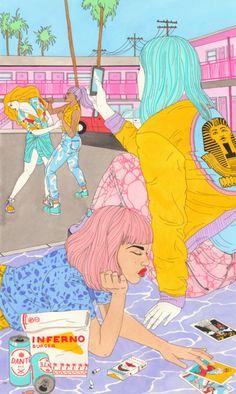 (Pick Me Up 2015 - Laura Callaghan Illustration) Nice art! Art And Illustration, Illustrations, Manga Comics, Grafik Design, Art Design, Art Inspo, Pop Art, Art Drawings, Art Photography