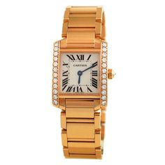 1stdibs | Cartier Lady's Rose Gold and Diamond Tank Francaise Wristwatch