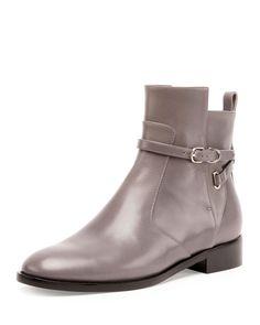 Ankle-Strap Flat Ankle Boot, Gris Acier, Women's, Size: 8B/38EU - Balenciaga