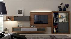 modern wall unit led Walnut Walnut hardwood glass fronts gray