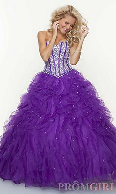 Beaded Strapless Sweetheart Ball Gown at PromGirl.com