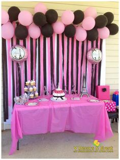 68 Ideas for birthday decorations balloons school colors Diva Party, Diva Birthday Parties, Paris Themed Birthday Party, Barbie Birthday Party, Birthday Party Decorations, Birthday Celebration, Spa Birthday, Wedding Decorations, Themed Parties