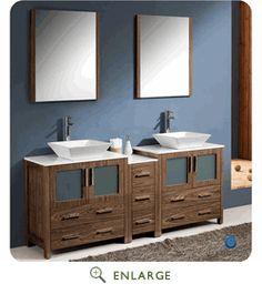 """Fresca FVN62-301230WB-VSL  Torino 72"""" Walnut Brown Modern Double Sink Bathroom Vanity w/ Side Cabinet & Vessel Sinks (Shipping Included)"""
