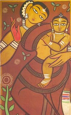 Jamini Roy Mother and Child, Tempera on Canvas, cm, National Gallery of Modern Art, New Delhi Indian Artist, Traditional Art, Jamini Roy, Indian Contemporary Art, Mother And Child Painting, Madhubani Art, Painting, Art, Contemporary Art