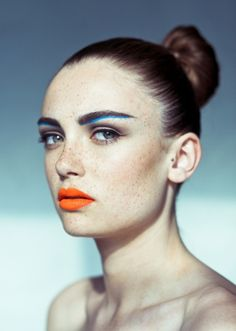 Orange lips and blue brows #makeup