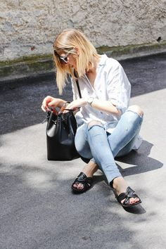 tifmys – Asos baby-blue sunnies, Zara cacti shirt, Mansur Gavriel bucket bag, Rosefield watch, H&M ripped jeans & Vagabond slippers.