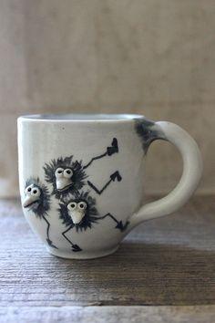 v i n t a g e handmade figural pottery mug childs by Harmonicajane
