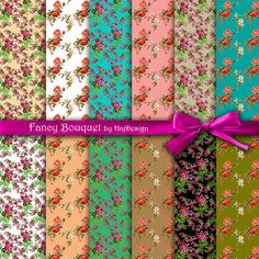 """Fancy Bouquet - Digital Paper Pack, Floral Scrapbooking Paper, Printable Papers - 12 Papers (12 x 12"""" - 300 DPI)"""