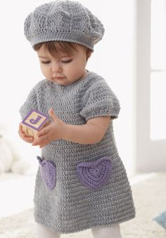 Sweet dress with accent heart pockets and matching beret for ages 6 to 18…
