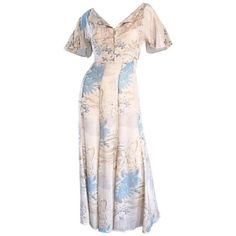 Preowned Rare Vintage Marianne Novobatzky 1930s Style Cotton Voile... ($950) ❤ liked on Polyvore featuring dresses, multiple, evening dresses, pink dress, pink evening dress, holiday dresses and cocktail dresses
