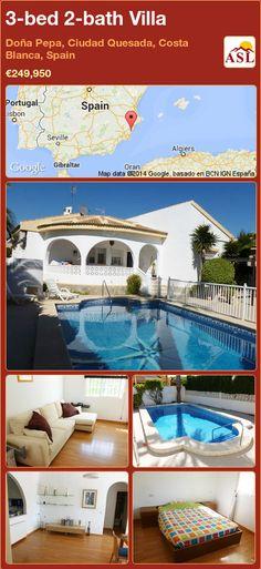 3-bed 2-bath Villa in Doña Pepa, Ciudad Quesada, Costa Blanca, Spain ►€249,950 #PropertyForSaleInSpain