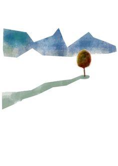 Paesaggio con ritagli... utilizzando i miei più nuovi pennelli digitali per emulare acquarelli e non soltanto. Americo Gobbo, 2013.