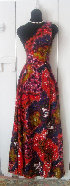 VINTAGE 60s-70s BONWIT TELLER COLOR BURST GYPSY FLORAL SARONG HALTER DRESS GOWN ~ SZ-L-X-L http://cgi.ebay.com/ws/eBayISAPI.dll?ViewItem&item=171254932308