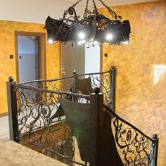 Hand wrought iron interior staircase railing - Roots Interior Railings, Interior Staircase, Staircase Railings, Interior And Exterior, Blacksmithing, Wrought Iron, Roots, Lamps, Ceiling Lights