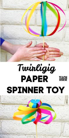 Rainbow twirligig paper spinner toy~ cool homemade STEM craft for kids!