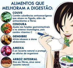 Alimentos que melhoram a digestão.