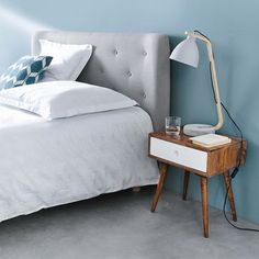 Gestepptes Bett-Kopfteil im Vintage-Stil aus Stoff, B 140cm, grau
