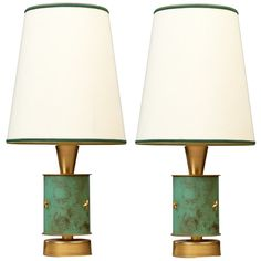 Pair of 1950s French Brass Table Lamps with Verdigris Decor | 1stdibs.com
