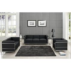 Shop Le Corbusier Modern Black Stainless Steel Leather Living Room Set with great price, The Classy Home Furniture has the best selection of to choose from Large Furniture, Living Room Furniture, Furniture Sets, Home Furniture, Steel Furniture, Modern Furniture, Le Corbusier, Pierre Jeanneret, Charlotte Perriand