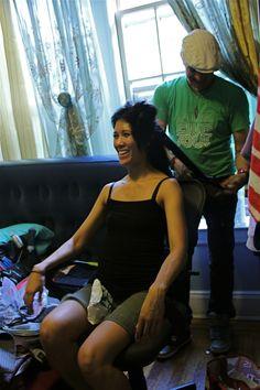Marissa Carpio (Jamie) is being prepped by Jose L. Lopez (Hair Stylist/Make-Up Artist).
