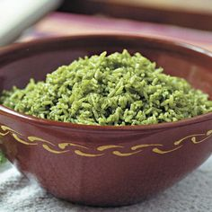 Rich and refined, arroz verde is one of the most popular dishes I present to cooking classes.