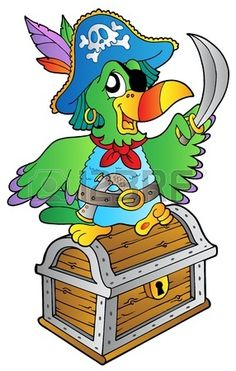 Pirate parrot on treasure chest - vector illustration.