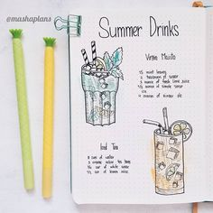 Masha ( summer drinks recipe page in my Bullet Journal Food Journal, Journal Notebook, Journal Pages, Recipe Journal, Journal Ideas, Bullet Journal Page, Bullet Journal Spread, Bullet Journal Period Tracker, Bullet Journals