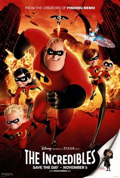 The Incredibles is an American computer-animated superhero film released in the century. The film is directed by Brad Bird. Produced by Pixar Animation Studios and released by Walt Disney Pictures, the movie stars Craig T. Film Pixar, Pixar Movies, Kid Movies, Family Movies, Cartoon Movies, Great Movies, Movies And Tv Shows, Movie Tv, Animation Movies
