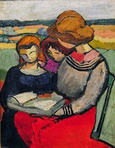 Femmes lisant dans un paysage / Women reading in a landscape. (1904) - Maurice Marinot (1882 - 1960)
