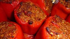 Stuffed peppers (Polneti Piperki In Macedonian) #Traditional #Macedonian #Recipe -  3 red bell peppers - 2 green or yellow bell peppers - 1 cup ground veal - 3 green onions, chopped - 1 clove garlic, minced - 170g. cream cheese - 1 egg - 3 Tbsp. half-and-half (cream) - 1 tsp. cumin - Dash salt and Pepper - Water