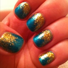 Teal Shellac with gold accents
