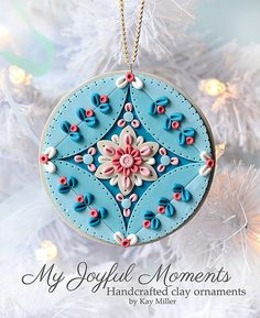 Handcrafted Polymer Clay Ornament by Kay Miller, My Joyful Moments on Etsy. Her stuff is so crisp and clean! Polymer Clay Kunst, Fimo Clay, Polymer Clay Projects, Polymer Clay Creations, Clay Crafts, Polymer Clay Ornaments, Polymer Clay Charms, Polymer Clay Jewelry, Polymer Clay Embroidery