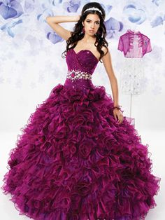 Purple Quinceanera Dresses - Long Dress With Ruffled Skirt And Jewel Belt