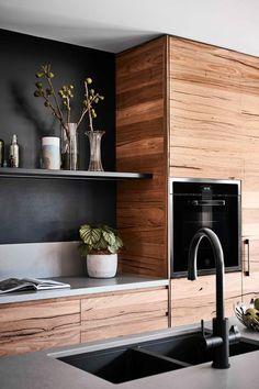 Timber Kitchen, Industrial Kitchen Design, Kitchen Room Design, Modern Kitchen Design, Home Decor Kitchen, Interior Design Kitchen, Black Kitchen Decor, Modern Industrial, Black Kitchens