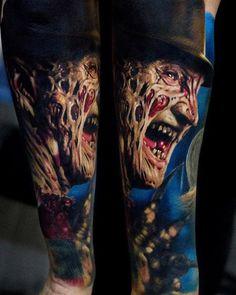 Horror Movie Tattoos, Scary Tattoos, Great Tattoos, Body Art Tattoos, Tattoo Drawings, Sleeve Tattoos, Tattoo Ink, Tatoos, Left Arm Tattoos