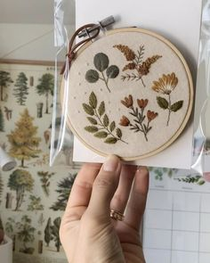 Fall indpired botanical leaves and flowers hand embroidered wall decor