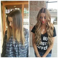 Before and after 22 inch Natural beaded row extensions and blonde haircoloring by Hailey www.haileysnow.com