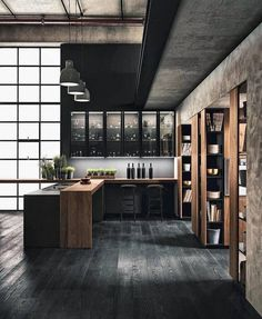 Modern Trends Interior Design - Home Remodeling Black Interior Design, Interior Design Living Room, Modern Interior, Showroom Interior Design, Brick Interior, Interior Rendering, Diy Interior, Industrial Kitchen Design, Industrial House