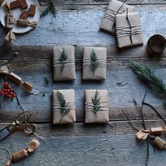 Christmas Gift Wrapping. Simple, natural Christmas Gift Wrapping Ideas.  Via Maggie Pate.