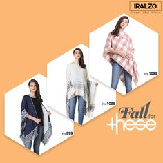 PONCHO Fall for Three  Transition into fall with the effortless look of Iralzo jacquard and viscose PONCHO with abstract border design and self hand knotted fringes! These poncho are versatile in use as a body wrap by folding the poncho and wear as a scarf.
