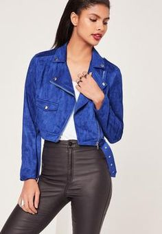 our love for luxe looking fabrics has reached new levels this season and this faux suede jacket in a cobalt blue hue and biker style is ticking all our boxes! Biker Style, Jacket Style, Faux Suede Biker Jacket, Moto Jacket, Leather Jacket, Suede Leather, Motorcycle Jacket, Petite Outfits, Jackets Online