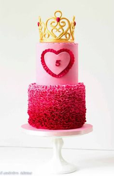 Pink Ombre Gold Crown Birthday Cake Picture
