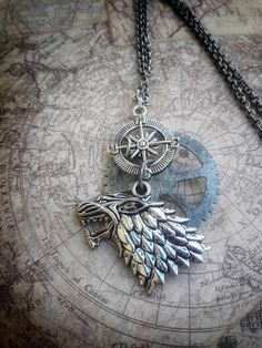 Stark House Game of Thrones Steampunk Necklace https://www.etsy.com/listing/544000379/house-stark-dire-wolf-necklace-steampunk